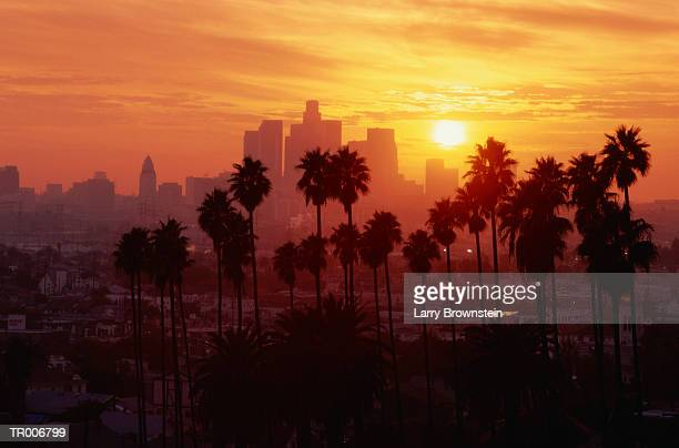 USA, California, Los Angeles skyline, sunset