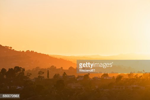 USA, California, Los Angeles, Villas in the Hollywood Hills at sunset