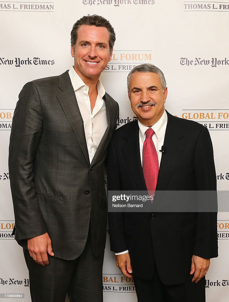California Lt. Governor Gavin Newsom and host Thomas L. Friedman attend The New York Times Global Forum with Thomas L. Friedman at the Metreon on June 20, 2013 in San Francisco, California.