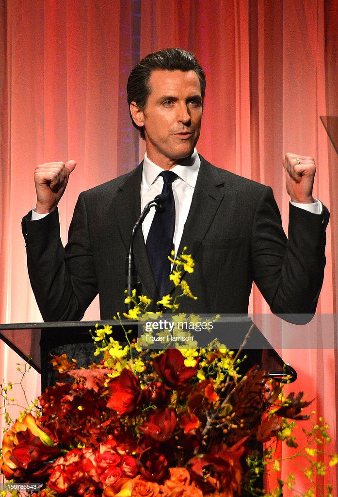 California Lt. Governor <a gi-track='captionPersonalityLinkClicked' href=/galleries/search?phrase=Gavin+Newsom&family=editorial&specificpeople=206305 ng-click='$event.stopPropagation()'>Gavin Newsom</a> on stage at the The Saban Free Clinic's Gala Honoring ABC Entertainment Group President Paul Lee And Bob Broder at The Beverly Hilton Hotel on November 19, 2012 in Beverly Hills, California.