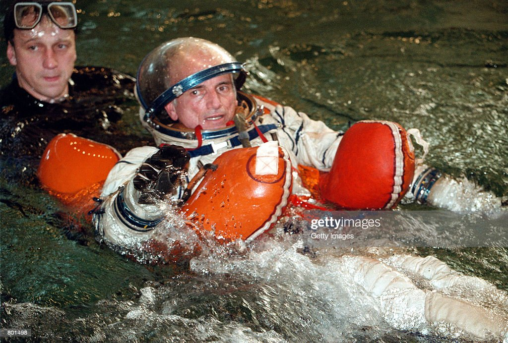 California millionaire Dennis Tito trains with a cosmonaut at a training center in Star City April 12, 2001 outside Moscow, Russia. Russian officials gave the green light to the California millionaire to become the first tourist in space despite reservations from NASA.