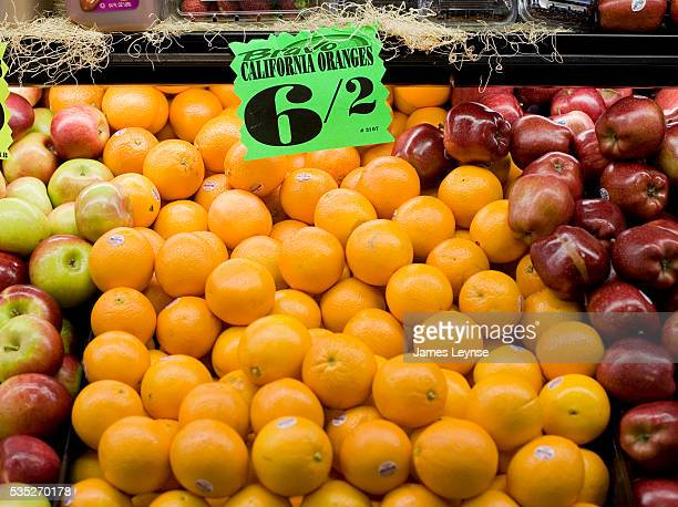 California oranges for sale at a supermarket in Queens New York Due to freezing temperatures in California prices of California citrus are expected...