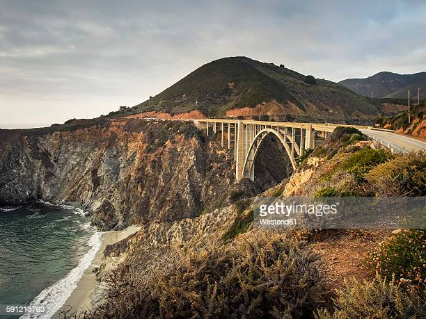 USA, California, Pacific Coast, National Scenic Byway, Big Sur, Bixby Bridge at sunset