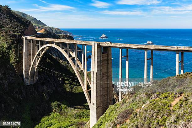 USA, California, Pacific Coast, National Scenic Byway, Big Sur, Bixby Creek Bridge, California State Route 1, Highway 1