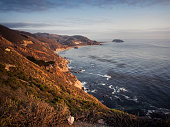 USA, California, Pacific Coast, National Scenic Byway, Big Sur, Coastline at sunset