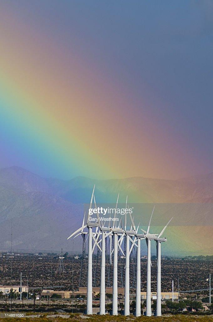 USA, California, Palm Springs, rainbow over wind turbines : Stock Photo
