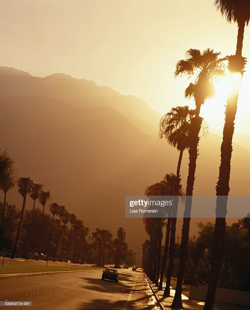 USA, California, Palm Springs, Tahquitz Canyon Road at sunset