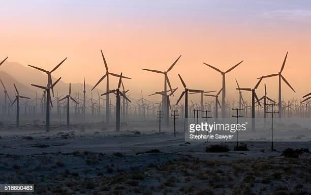 California, Palm Springs Wind Turbines in desert