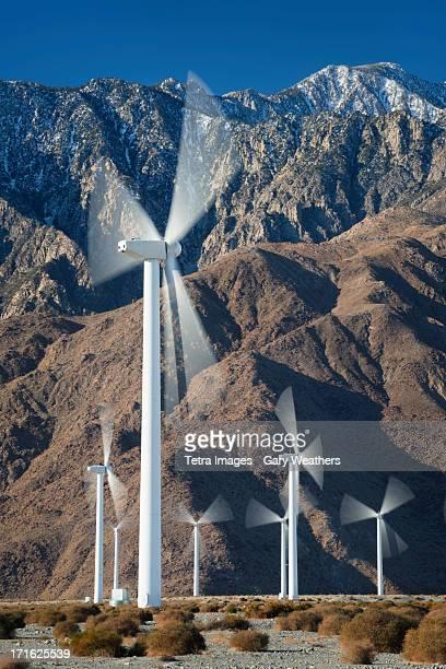 USA, California, Palm Springs, Wind turbines on desert