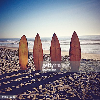 USA, California, Playa del Rey, Surfboards on sandy beach