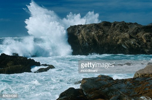 USA, California, Point Lobos, waves splashing on rocks at Pacific coast : Stock Photo