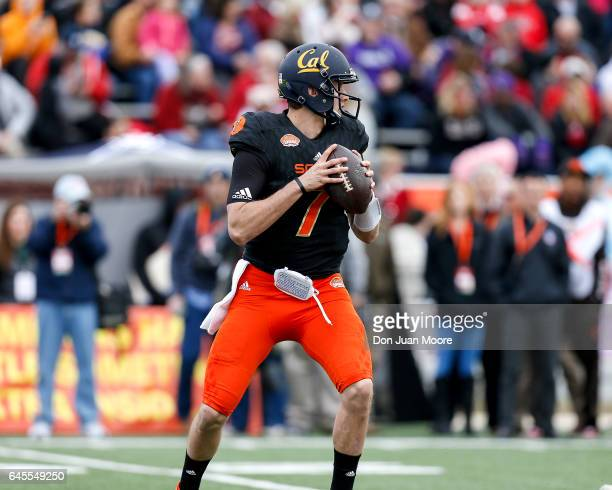 California Quarterback Davis Webb of the South Team during the 2017 Resse's Senior Bowl at LaddPeebles Stadium on January 28 2017 in Mobile Alabama...
