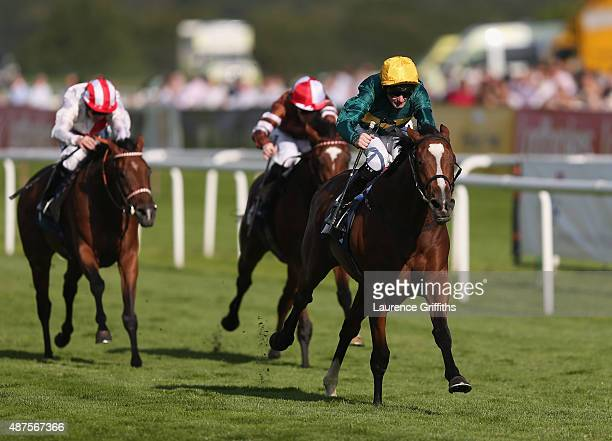 California ridden by Robert Havlin on their way to victory in the crownhotelbawtrycom Thoroughbred Breeders Association Fillies Handicap Stekes at...