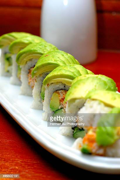 California roll topped with extra avocado
