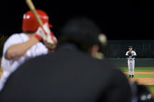 USA, California, San Bernardino, baseball game, umpires view of batter awaiting pitch