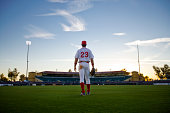 USA, California, San Bernardino, baseball outfielder looking towards diamond