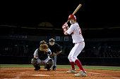USA, California, San Bernardino, baseball players awaiting pitch during game
