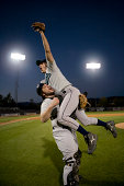 USA, California, San Bernardino, baseball players celebrating victory