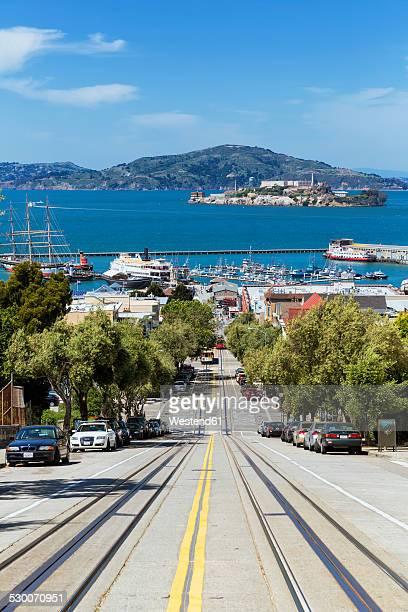 USA, California, San Francisco, Hyde Street, San Francisco Bay and Alcatraz Island in the background