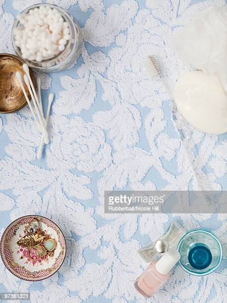 USA, California, San Francisco, overhead view on dressing table with cosmetics and toiletries