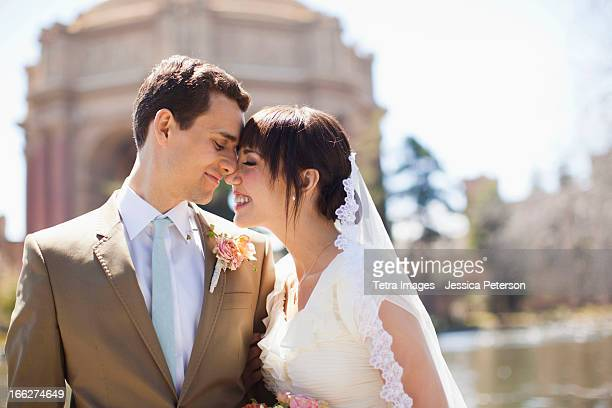 USA, California, San Francisco, Portrait of young bride and groom