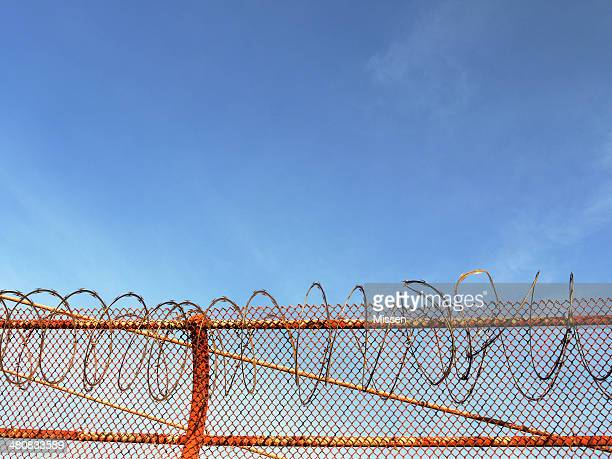 USA, California, San Francisco, Razor wire on Golden Gate bridge