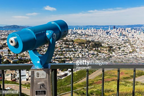 USA, California, San Francisco, Viewpoint Twin Peaks, Telescope