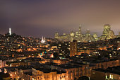 USA, California, San Francisico, skyline and rooftops, night