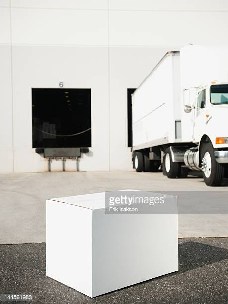 USA, California, Santa Ana, Box outside warehouse
