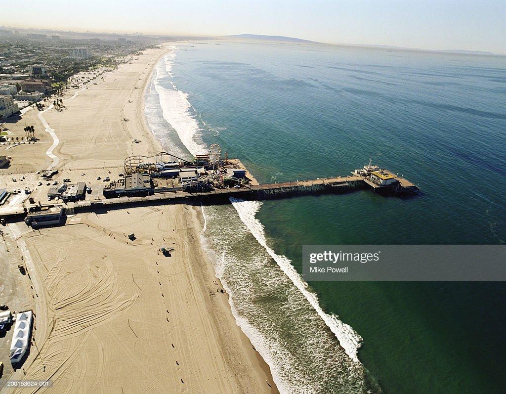 USA, California, Santa Monica, aerial view of Santa Monica Pier