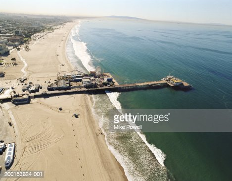 USA, California, Santa Monica, aerial view of Santa Monica Pier : Stock Photo