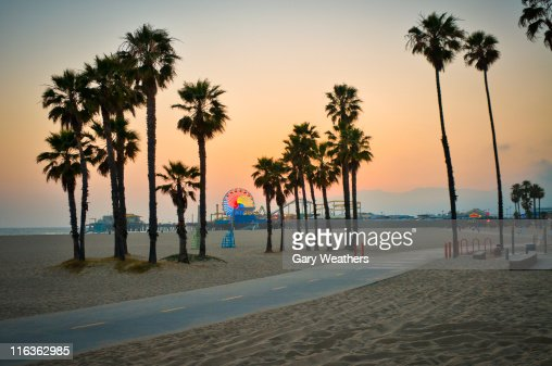 USA, California, Santa Monica Pier at sunset