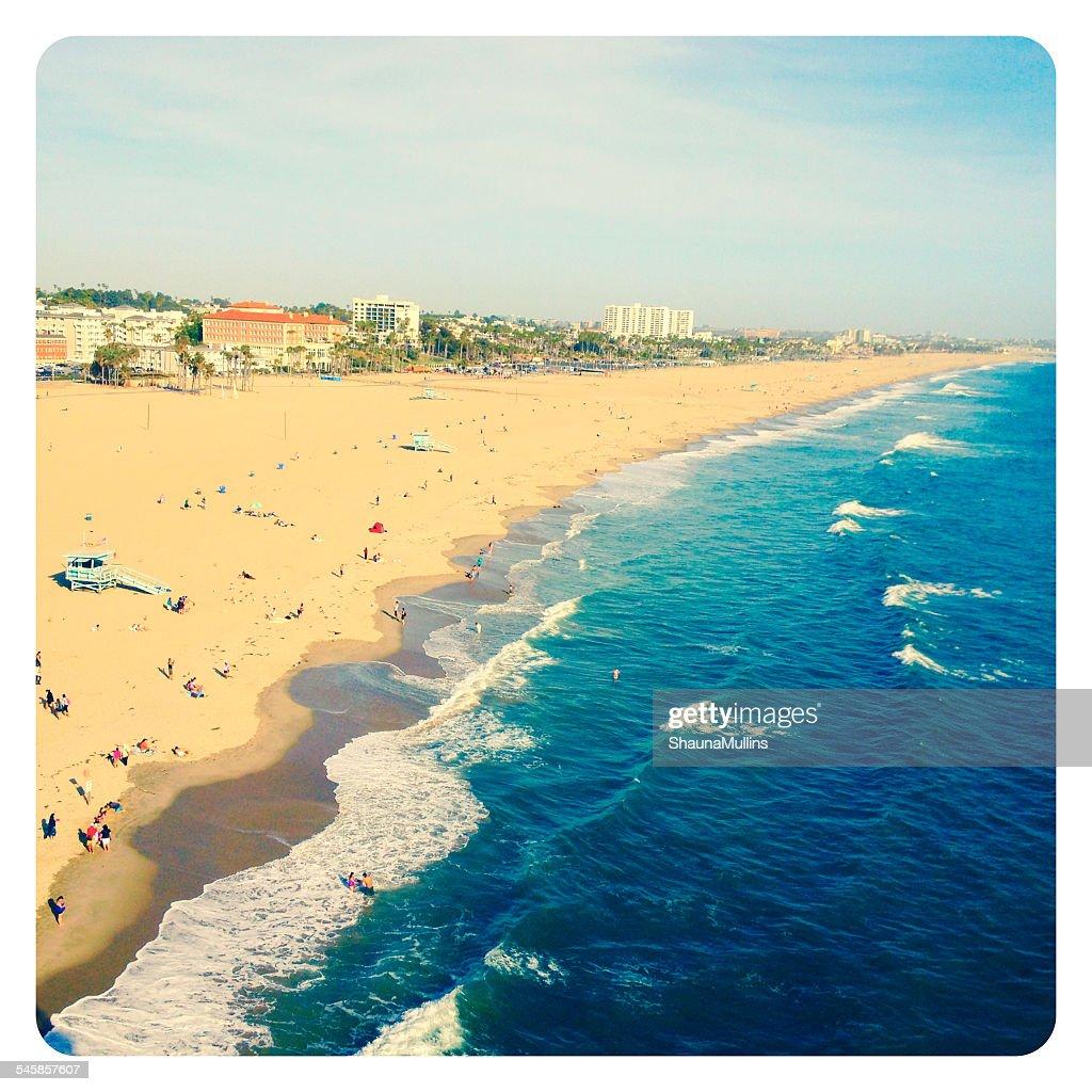 USA, California, Santa Monica, View of beach at Santa Monica Pier