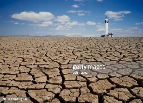 USA, California, Sausalito, Lighthouse on dry lake bed