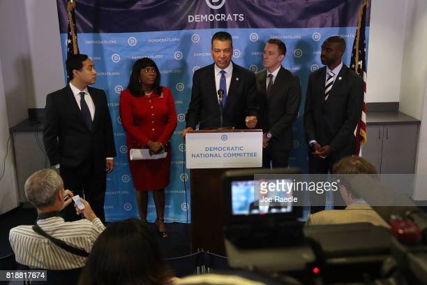 California Secretary of State Alex Padilla speaks as Rep Joaquin Castro Rep Terri Sewell Jason Kander president of Let America Vote and DNC Vice...