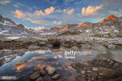 USA, California, Sequoia National Park, Sunset over Nine Lake basin