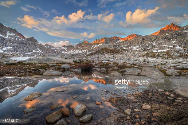 USA, California, Sequoia National Park, Sunset over Nine Lake basin