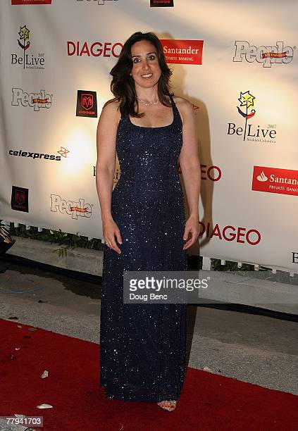 California Speedway President Gillian Zucker poses on the red carpet before the Juan Pablo Charity Gala hosted by Juan Pablo Montoya Fonseca Fanny Lu...