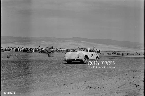 California Sports Car Club presents the 8th Palm Springs Road Race March 2627 1955 Actor James Dean rounds turn in his Porsche 356 Speedster