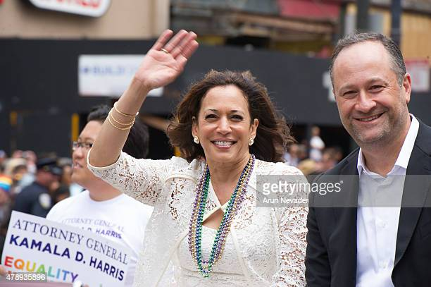 California State Attorney General Kamala D Harris appears during the 2015 San Francisco Pride Parade on June 28 2015 in San Francisco California