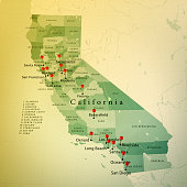 3D Render of a Map of California State with Straight Pins at the Position of important Cities. Vintage Color Style. Very high resolution available!  All source data is in the public domain. http://www
