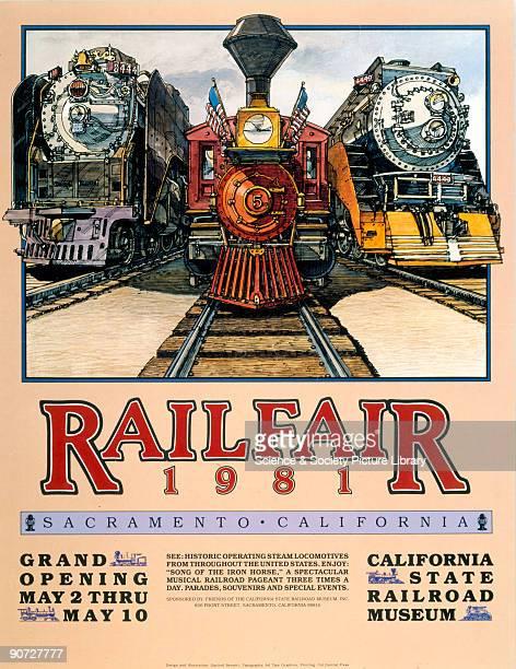 California State Railroad Museum poster advertising the Railfare exhibition at Sacramento California