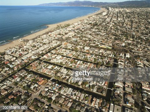 USA, California, Venice Beach, aerial view of Venice Canals : Stock Photo