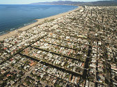 USA, California, Venice Beach, aerial view of Venice Canals
