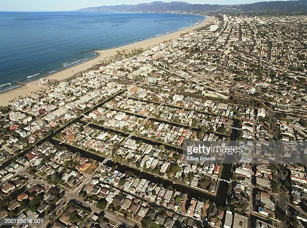 USA, California, Venice Beach, Veduta aerea di Venezia canali