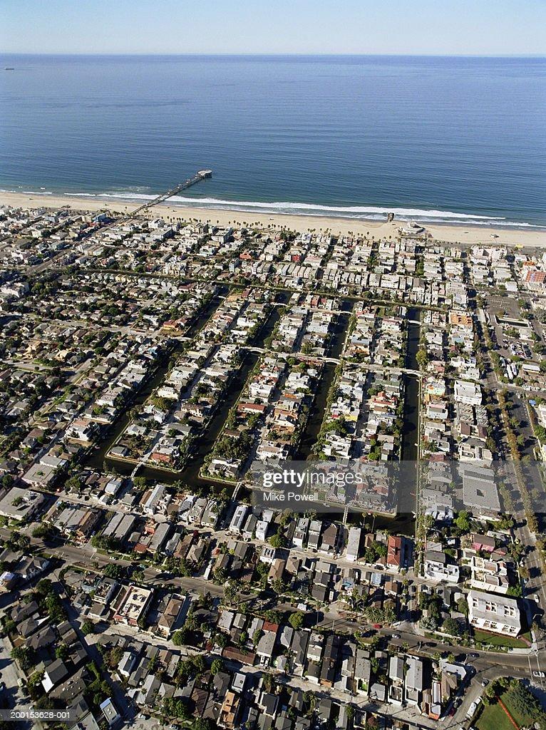 USA, California, Venice Beach, aerial view of Venice Canals : Stock Photo