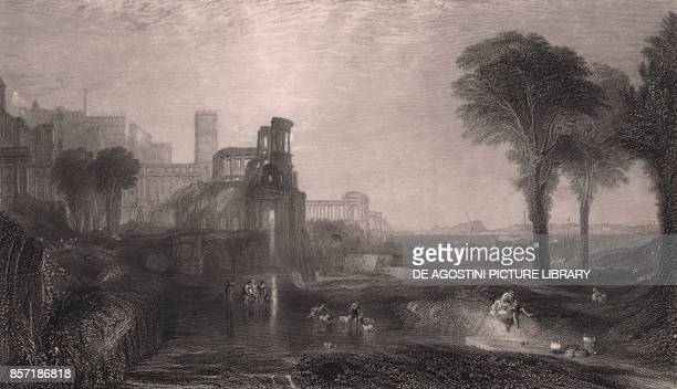 Caligula's Palace and Bridge between Baia and Pozzuoli Campania Italy steel engraving after a painting by Joseph Mallord William Turner ca 265x18 cm