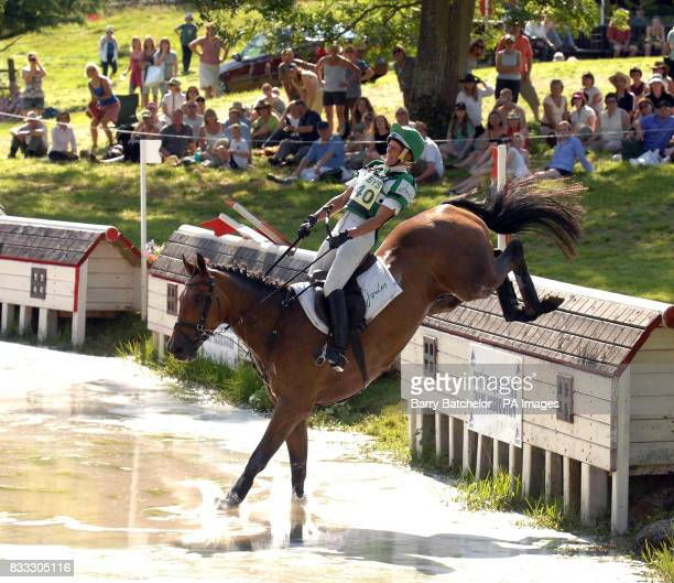Call Again Cavalier and Mary King at the lake in the cross country and go on to win the 'Open' during The Festival of British Eventing at Gatcombe...