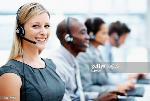 Call center employees at work