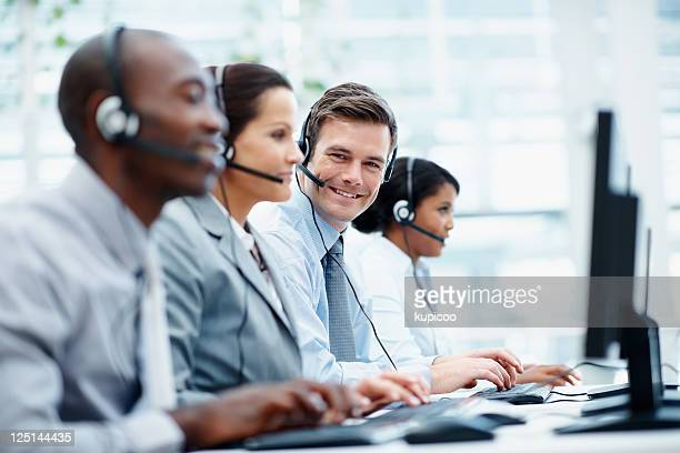 Call center employees working